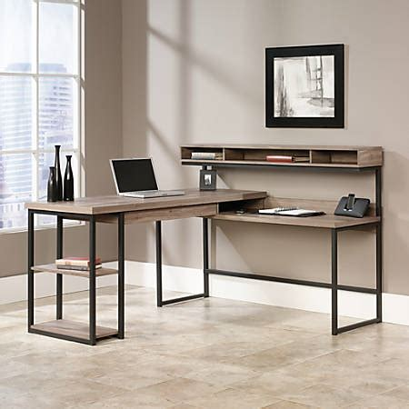 Sauder Transit Multi Tiered L Shaped Desk Salted Oak By