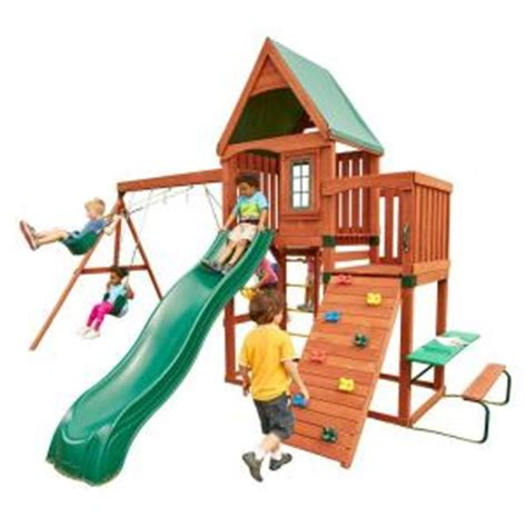 home depot swing set swing n slide playsets knightsbridge wood complete playset