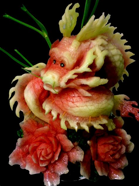 design art and food fruit carving dragon by carvingnations on deviantart