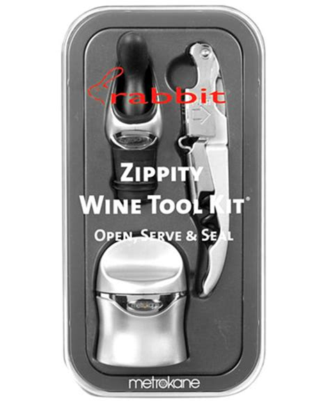 rabbit barware metrokane barware silver rabbit 3 piece zippity wine tool