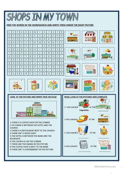Shops In My Town Worksheet Free Esl Printable Worksheets | shops in my town worksheet free esl printable worksheets