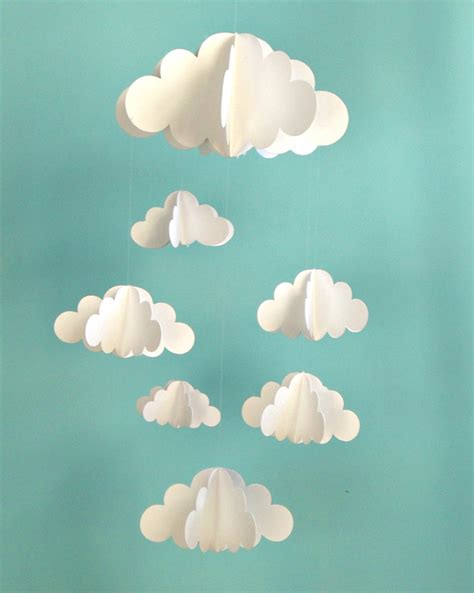 How To Make 3d Clouds Out Of Paper - clouds hanging baby mobile 3d paper mobile by goshandgolly