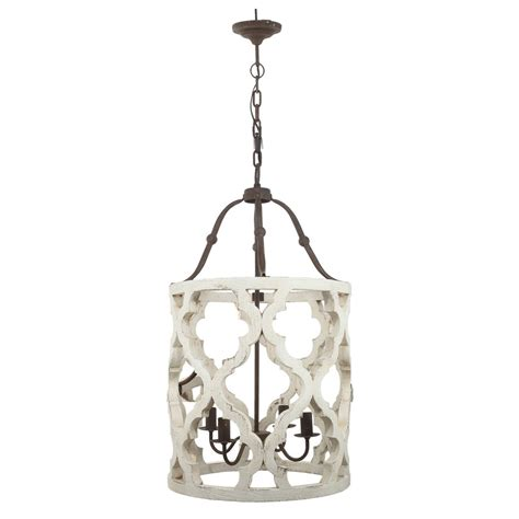 Distressed Barrel Chandelier Distress Wood Rustic White Wooden Chandelier