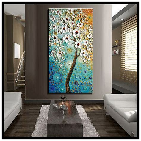aliexpress buy abstract canvas wall modern acrylic textured white cherry blossom tree