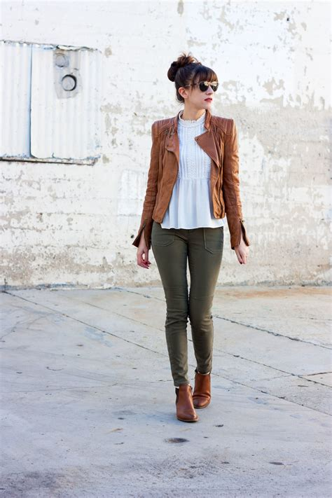 tan leather jacket  booties jeans   teacup