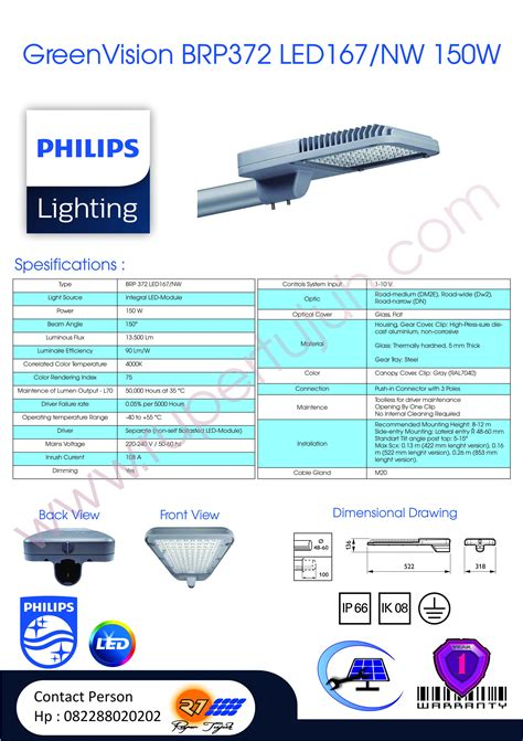 Lu Pju Led Philips 100 Watt lu penerangan jalan umum pju philips greenvision