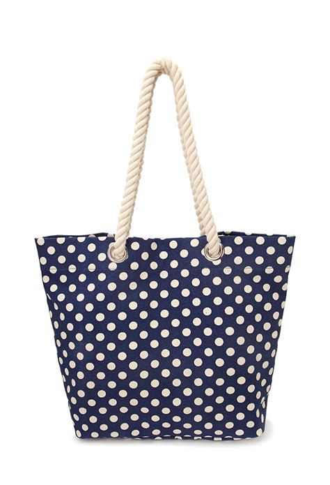Tote Navy Polka forever 21 polka dot canvas tote in blue navy lyst