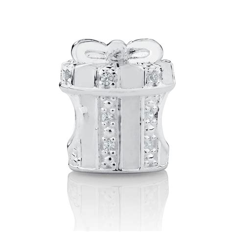 Present Silver Charm With Pink Cubic Zirconia P 1174 present charm with white enamel and cubic zirconia in sterling silver