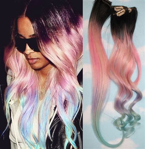 dyed weave hairstyles light pastel dip dyed hair unicorn clip in hair extensions