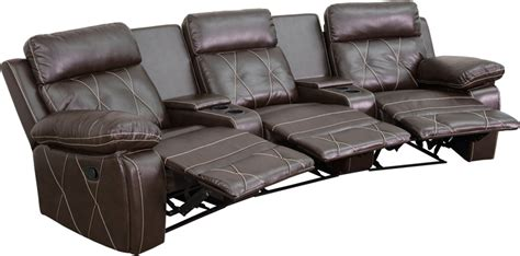 theatre with reclining seats reel comfort series 3 seat reclining brown leather theater