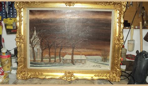 quadri cornici quadro casa con alberi quadro firmato cornice rifatta a