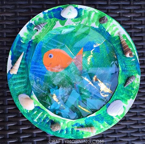 Paper Crafts For Teenagers - paper plate porthole fish craft for crafty morning
