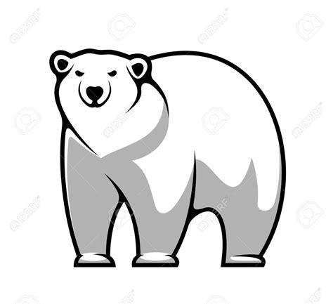 cartoon white large grey and white cartoon polar bear isolated on white