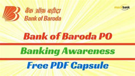 po bank bank of baroda po banking awareness free pdf capsule