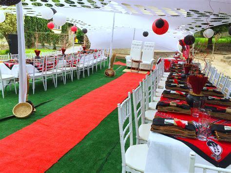 Red & Black Swazi traditional wedding at Shonga Events