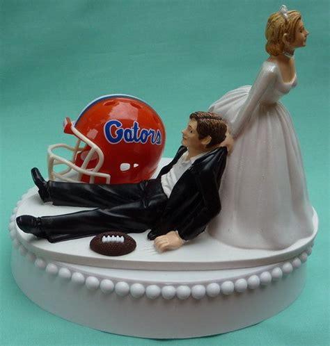 wedding cake topper of florida gators uf football themed w garter sports fan