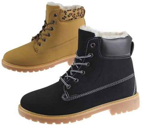 womens fur lined boots winter warm combat hiking work high