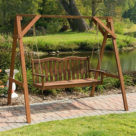 metal frame swing wooden porch swing with metal frame