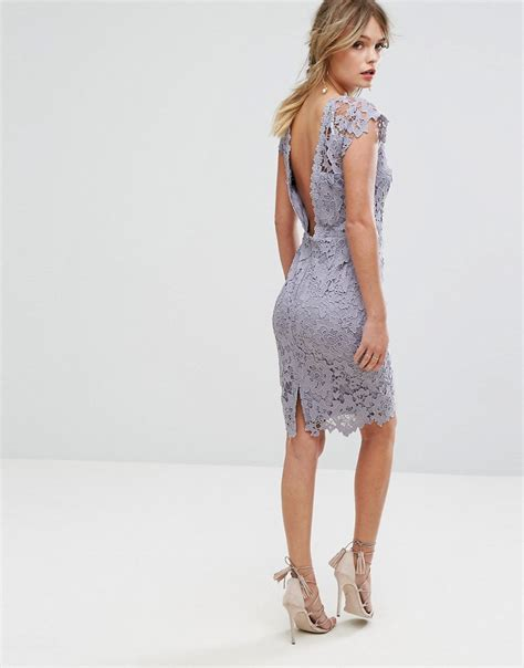 Back Lace Dress W398 paper dolls midi lace dress with scalloped back oyster grey 163 65 00 octer