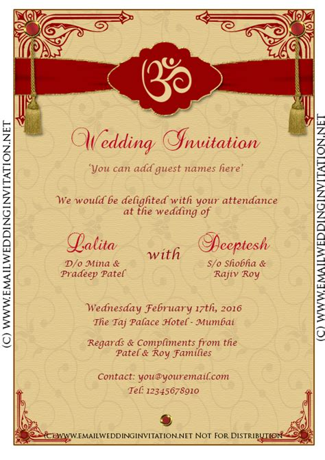 hindu wedding cards templates free diy email indian wedding card template baroque style on