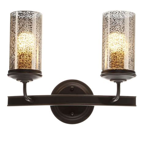 Glass Vanity Light Sea Gull Lighting Sfera 2 Light Autumn Bronze Wall Bath Vanity Light With Mercury Glass 4410402