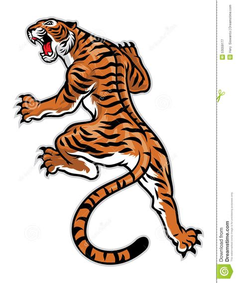 classic tattoo pose of tiger stock vector image 53059177
