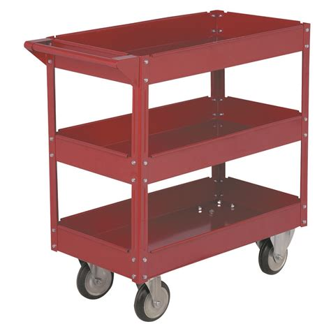 Three Shelf Cart by 30 In X 16 In Three Shelf Steel Service Cart