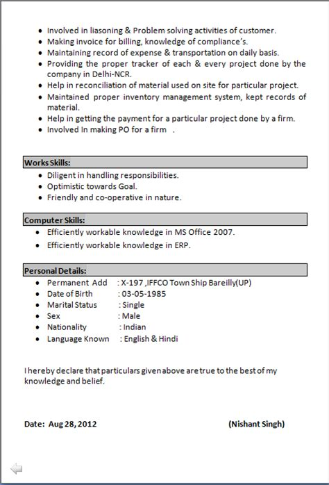 resume format for mba marketing experienced in doc resume co resume sle of mba finance marketing