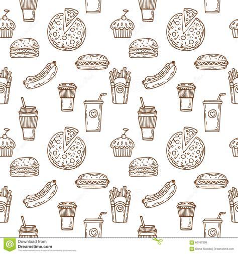 seamless pattern hand drawn fast food seamless pattern hand drawn food background