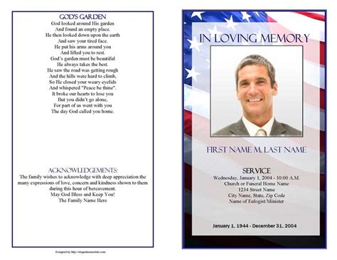 Funeral Memorial Card Template Publisher Free by Funeral Program Templates Patriotic Us
