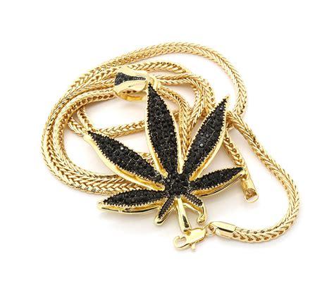 Black Pendant Necklace D15 30 mens 14k gold plated black marijuana large pendant 30 quot franco necklace necklaces pendants