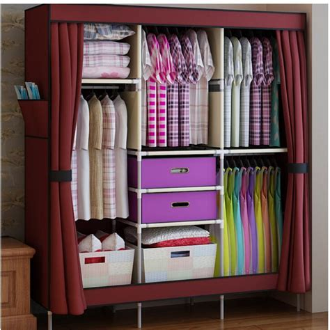 Clothing Wardrobe by 2018 Portable Clothes Wardrobe Closet Cabinet Garment Rack With 2 Free Storage Boxes
