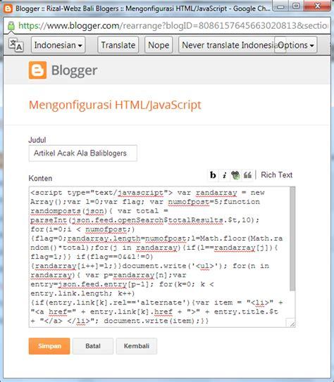 cara membuat artikel feature cara membuat artikel acak random post di blogger rizal