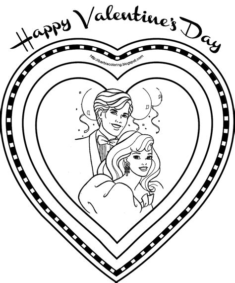 barbie coloring pages barbie and ken valentine s day