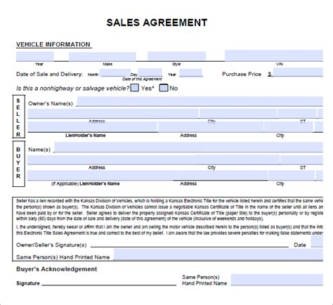 Sle Agreement Letter For Buying A Car 6 Free Sales Agreement Templates Excel Pdf Formats