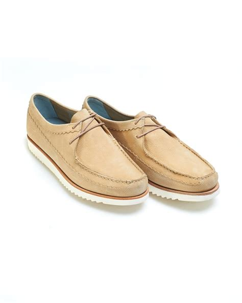 grenson shoes mens owen moccasins leather lace up beige