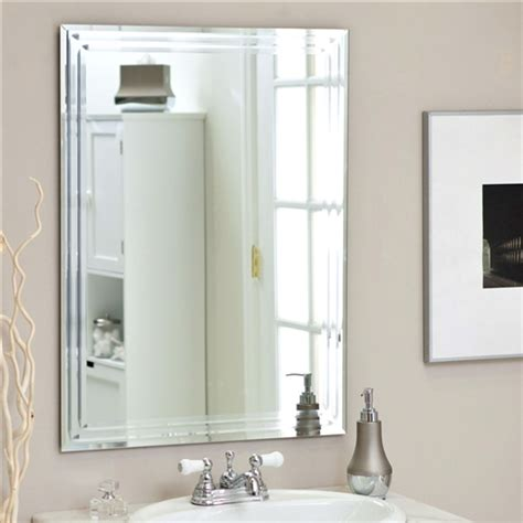 rectangular 31 5 inch bathroom vanity wall mirror with contemporary bevel design