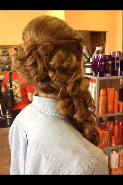prom hairstyles down to the side curly hair curly updo prom hair half up half down