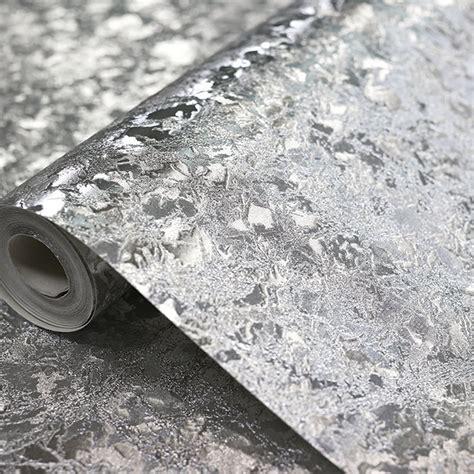 Folie Schwarz Metallic by Arthouse Velvet Crush Foil Pattern Wallpaper Metallic Leaf