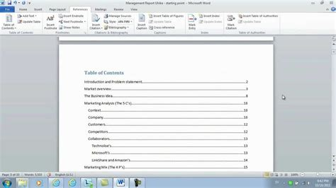 Microsoft Word Insert Table Of Contents by How To Insert Page Numbers And A Table Of Contents Using