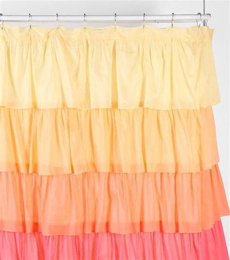 Yellow Ruffle Curtains Shabby Flamenco Chic Ruffled Ombre Yellow Orange Pink Ruffle Bath Shower Curtain Ebay