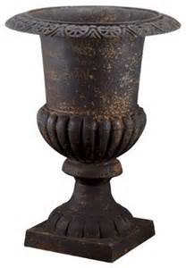 black cast iron urn traditional outdoor pots and