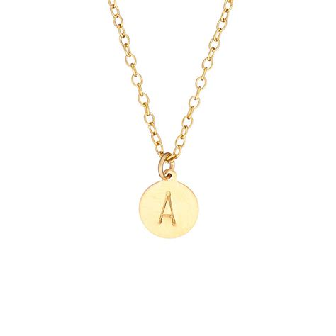 14k gold fill handsted initial disc necklace by chupi