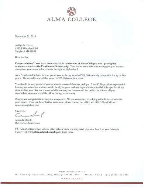 Offer Letter College Personal Testimoney Ashlyn Davis Professional Portfolio