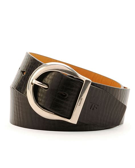 Tom Ford Belts by Tom Ford S Leather Buckle Belt In Brown For