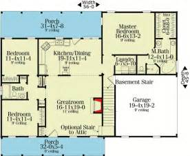 Ranch Floor Plans With Split Bedrooms by Split Bedroom Country Ranch 62099v 1st Floor Master