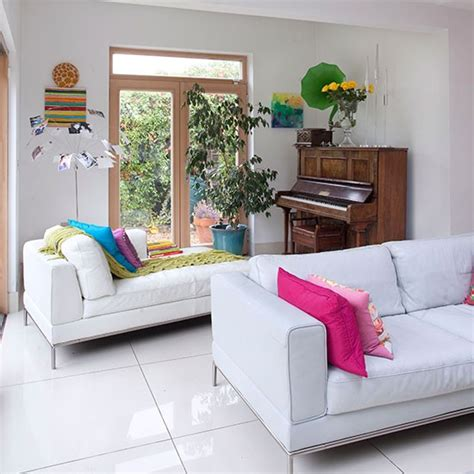 Living Room With White Leather Sofa Living Room With White Leather Sofa Living Room Decorating Housetohome Co Uk