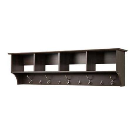 prepac 60 in wall mounted coat rack in espresso eec 6016