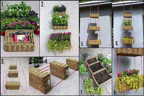 dishfunctional designs hanging basket herb garden diy easy diy vertical garden with metal ducts