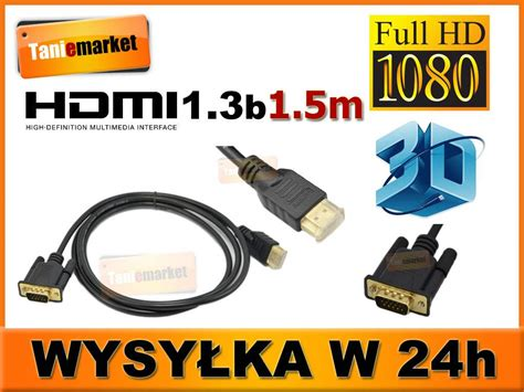 Kabel Vga To Vga 1 5m kabel vga hdmi vga hdmi hd 1 3b gold 1 5m zdj苹cie